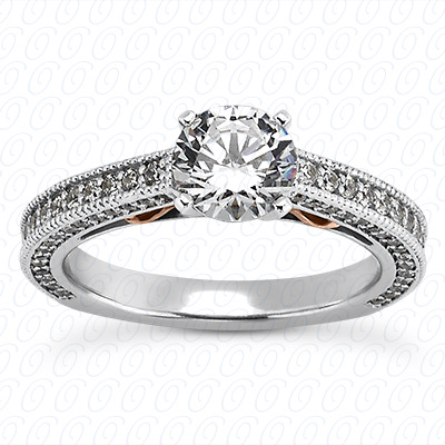 14KP Antique Cut Diamond Unique <br>Engagement Ring 0.60 CT. Engagement Sets Style