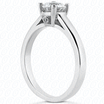 14KP Round Cut Diamond Unique <br>Engagement Ring 0.01 CT. Solitaires Style