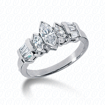 14KW Marquise Side Stones Cut Diamond Unique Engagement Ring 0.89 CT. Semi Mount Style