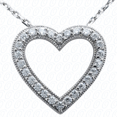 14KW Hearts Cut Diamond Unique Engagement Ring 0.56 CT. Pendants Style