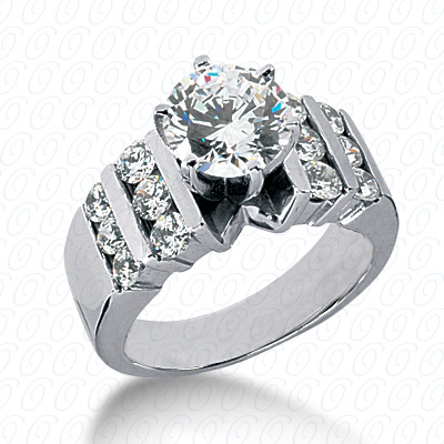14KW Round Bar Cut Diamond Unique Engagement Ring 0.72 CT. Round Side Stones Style