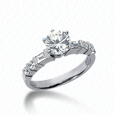 14KP Bq+Rd Cut Diamond Unique Engagement Ring