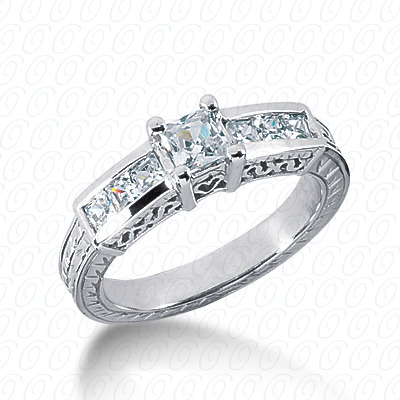 14KP Antique Cut Diamond Unique <br>Engagement Ring 0.82 CT. Engagement Rings Style