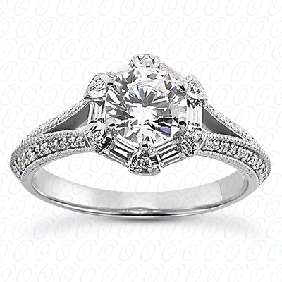14KP Antique Cut Diamond Unique <br>Engagement Ring 0.54 CT. Engagement Sets Style