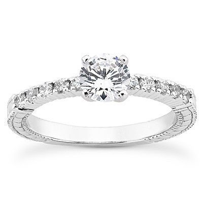 14KP Antique Cut Diamond Unique <br>Engagement Ring 0.20 CT. Engagement Sets Style