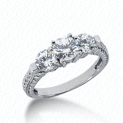 14KP Antique Cut Diamond Unique <br>Engagement Ring 1.00 CT. Engagement Rings Style