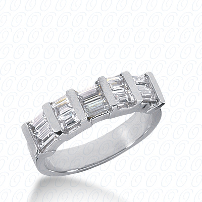 14KW Bar Set Cut Diamond Unique Engagement Ring 1.08 CT. Baguette Style