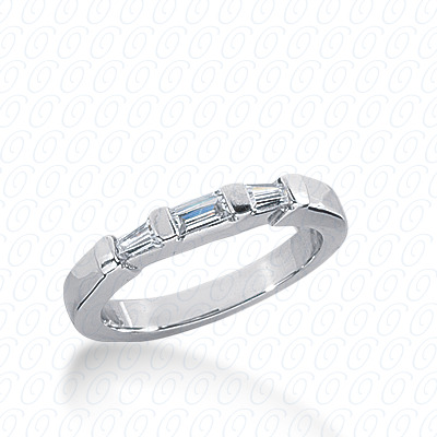 14KW Bar Set Cut Diamond Unique Engagement Ring 0.24 CT. Baguette Style
