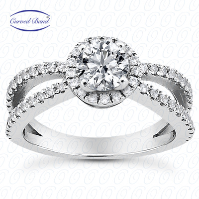 14KP Halo Petite  Cut Diamond Unique <br>Engagement Ring 0.46 CT. Petite Style
