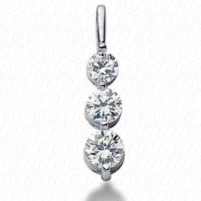 14KW Three Stones Cut Diamond Unique Engagement Ring 0.50 CT. Pendants Style