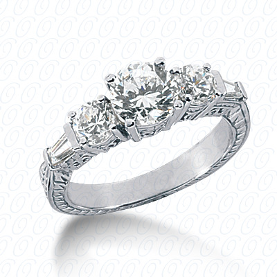 14KP Antique Cut Diamond Unique <br>Engagement Ring 0.84 CT. Engagement Rings Style