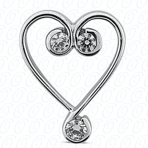 14KW Hearts Cut Diamond Unique Engagement Ring 0.27 CT. Pendants Style