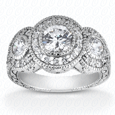 14KP Antique Cut Diamond Unique <br>Engagement Ring 1.09 CT. Engagement Rings Style