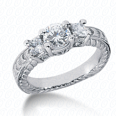14KP Antique Cut Diamond Unique <br>Engagement Ring 0.62 CT. Engagement Rings Style