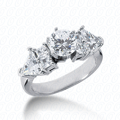 14KW Pear Side Stones Cut Diamond Unique Engagement Ring 0.98 CT. Semi Mount Style