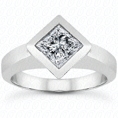 14KP Princess Cut Diamond Unique Engagement Ring