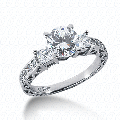 14KP Antique Cut Diamond Unique <br>Engagement Ring 0.69 CT. Engagement Rings Style