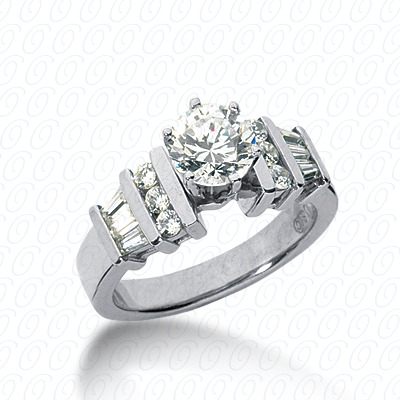 14KP Bq+Rd Cut Diamond Unique <br>Engagement Ring 0.48 CT. Combination Style