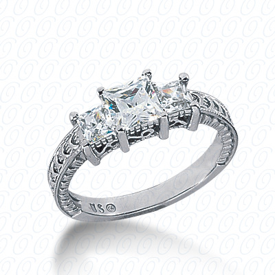14KP Antique Cut Diamond Unique <br>Engagement Ring 0.54 CT. Engagement Rings Style
