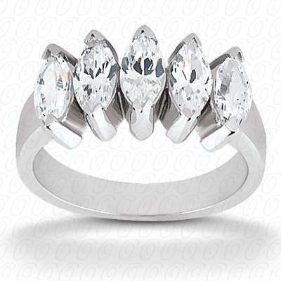 14KP Marquise Cut Diamond Unique Engagement Ring