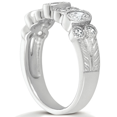 14KP Oval 0.99 CT. Wedding Bands