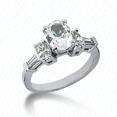 14KW Oval Side Stones Cut Diamond Unique Engagement Ring 0.94 CT. Semi Mount Style
