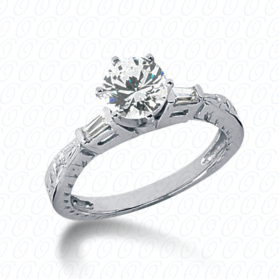 18KP Antique Cut Diamond Unique Engagement Ring