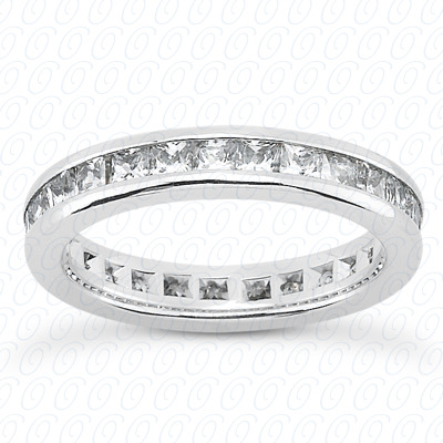 14KP Plain Cut Diamond Unique Engagement Ring 1.75 CT. Princess Channel Eternity Style