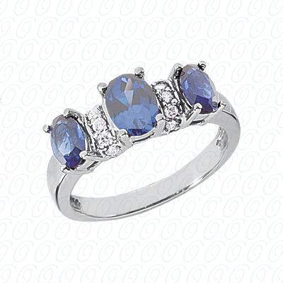 14KW Combination Cut Diamond Unique Engagement Ring 1.15 CT. Color Stone Rings Style