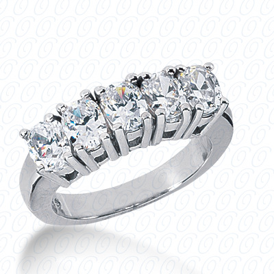 14KP Oval 1.90 CT. Wedding Bands
