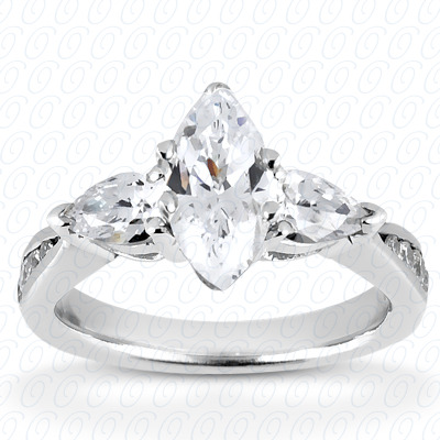 14KW Pear Side Stones Cut Diamond Unique Engagement Ring 0.51 CT. Semi Mount Style