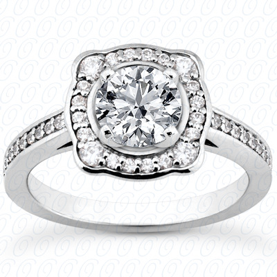 14KP Halo Petite  Cut Diamond Unique <br>Engagement Ring 0.32 CT. Petite Style