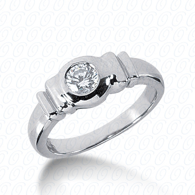 14KP Round Cut Diamond Unique <br>Engagement Ring 0.35 CT. Solitaires Style