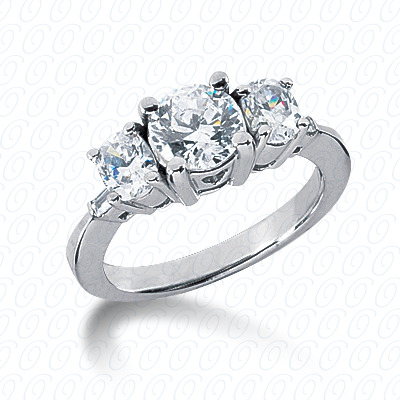 14KW Oval Side Stones Cut Diamond Unique Engagement Ring 0.84 CT. Semi Mount Style