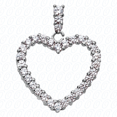 14KW Hearts Cut Diamond Unique Engagement Ring 0.45 CT. Pendants Style