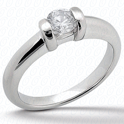 14KP Round Cut Diamond Unique Engagement Ring 0.00 CT. Solitaires Style