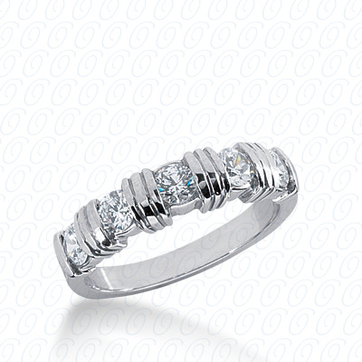 14KW Bar Setting Cut Diamond Unique Engagement Ring 0.75 CT. Round Style