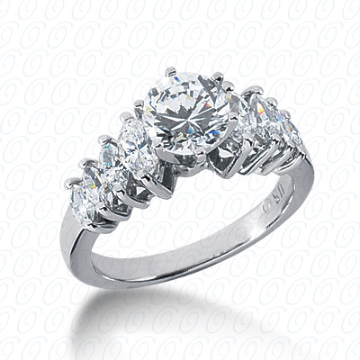 14KW Marquise Side Stones Cut Diamond Unique Engagement Ring 0.94 CT. Semi Mount Style