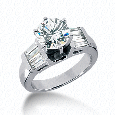 14KW Baguette Bar Cut Diamond Unique Engagement Ring 0.84 CT. Bq Side Stones  Style