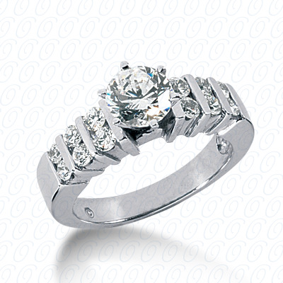 14KW Round Bar Cut Diamond Unique Engagement Ring 0.48 CT. Round Side Stones Style
