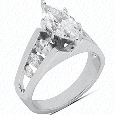 14KW Marquise Side Stones Cut Diamond Unique Engagement Ring 0.80 CT. Semi Mount Style