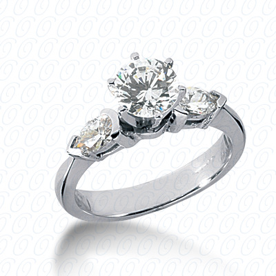 14KW Pear Side Stones Cut Diamond Unique Engagement Ring 0.54 CT. Semi Mount Style