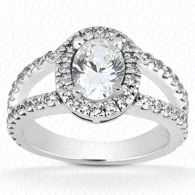 14KP Oval 0.88 CT. Halo