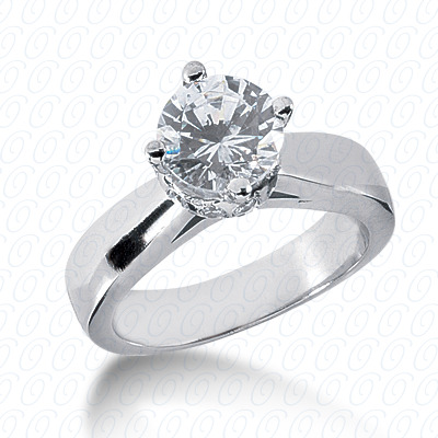 14KP Round Cut Diamond Unique Engagement Ring 0.24 CT. Solitaires Style
