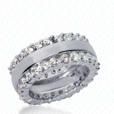 14KP  Round Cut Diamond Unique Engagement Ring 2.10 CT. Eternity Wedding Bands Style