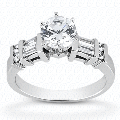 14KP Bq+Rd Cut Diamond Unique <br>Engagement Ring 0.32 CT. Combination Style