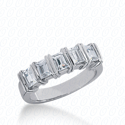 14KW Bar Set Cut Diamond Unique Engagement Ring 1.25 CT. Baguette Style