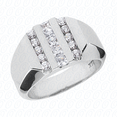 14KP Fancy Styles Cut Diamond Unique Engagement Ring 0.80 CT. Mens Rings Style