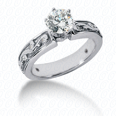 14KP Antique Cut Diamond Unique <br>Engagement Ring 0.11 CT. Engagement Sets Style
