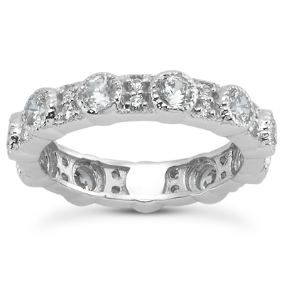 14KP  Round Cut Diamond Unique <br>Engagement Ring 1.20 CT. Eternity Wedding Bands Style